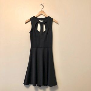 Mystic black dress with structured cutout top
